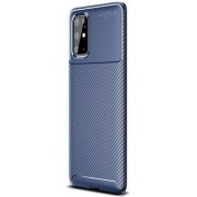 Teleplus Samsung Galaxy S20 Plus Case Negro Carbon Silicone Navy Blue hoesje
