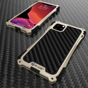 R-JUST ShocKproof Carbon Fiber Texture Silicone + Metal Combo Shell for iPhone 11 Pro 5.8 inch (2019) - Black/Gold