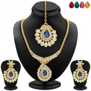 Sukkhi Resplendent Gold Plated AD Necklace Set with Set of 5 Changeable Stone