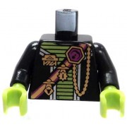LEGO LOOSE TORSO Black Torso with Green Trim Gold Medals & Sash