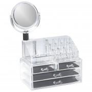 Caja organizadora de cosméticos con espejo Genérica