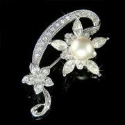 Beautiful Swarovski Crystal and Pearl Flower Brooch for Wedding