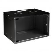 RACK, MIRSAN MR.SOH09U40MN.01, Сървърен шкаф за мрежово оборудване - 535 x 400 x 440 mm, 9U, черен, за стена