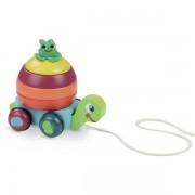 Vilac Żółw na sznurku do ciągnięcia - drewniana zabawka do ciągnięcia 2w1, piramida, układanka 18m+,