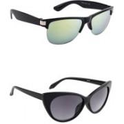 Irayz Cat-eye Sunglasses(Green, Black)