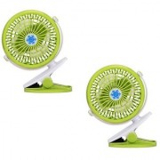SUREELEE Set of 2 360 Degree Rotate Rechargeable Clip Handy Mini USB Fan (GREEN)