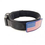 UVONOKAY Collar táctico para Perro con Bandera Americana, Mango de Control de Entrenamiento Militar, Nailon Ajustable, Hebilla de Metal Resistente (Negro,XL)