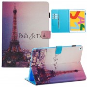 Pattern Printing Leather Wallet Stand Tablet Case for iPad 10.2 (2019) - Eiffel Tower