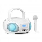 Auna Roadie Sing, CD boombox, FM радио, светлинно шоу, CD плейър, микрофон, бял (MG3-Roadie 2.0 WH)