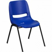 Flash Furniture Plastic Student Stack Chair -Blue w/ Black Frame, 880-Lb. Capacity, Model RUTEO1BL