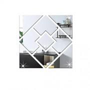 shuntai OOFAY& 1 Set (9 piezas) DIY creativo espejo de cristal pegatinas de pared / Grandes pegatinas de pared geométrica para la decoración de Acrílico , silver