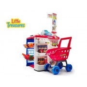 High Quality Home Supermarket From Little Treasures Complete With Grocery Cart, Cash Register, Pricing Gun, Pin Pad, Weigh Scale, And Shelves Stocked With Food 24 Accessories Set For Children 3+