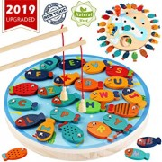CozyBomB Magnetic Wooden Fishing Game Toy for Toddlers - Alphabet Fish Catching Counting Preschool Board Games Toys for 2 3 4 Year Old Girl Boy Kids B