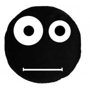 Soft Smiley Emoticon Black Round Cushion Pillow Stuffed Plush Toy Doll (Confused)