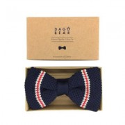 DAGOBEAR - Knit Bow Tie - red/white striped - Black/Black