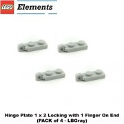 Lego Parts: Hinge Plate 1 x 2 Locking with 1 Finger On End (PACK of 4 - LBGray)
