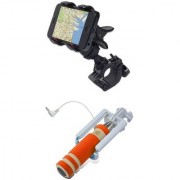 Bike Bicycle Cycle Mobile holder with Universally Compatible AUX Wired Mini Selfie Stick Monopod