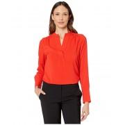 Calvin Klein Long Sleeve V-Neck Top Tango