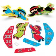 Baker Ross Ninja Gliders - 8 Paper Covered Toy Gliders In 4 Designs. Foam Glider Party Bag Fillers. Size 17.5cm.