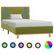 vidaXL zöld szövetkárpitozású LED-es ágykeret 100 x 200 cm