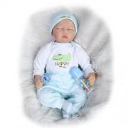 NPKDOLL Reborn Baby Doll Soft Simulation Silicone Vinyl 22inch 55cm Lifelike Vivid Toy Boy Girl Happy Green Crocodile Eyes Close