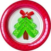 Set 8 farfurii mici Happy Tree pentru Craciun 18 cm