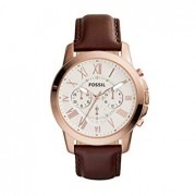 Fossil Men's Grant Quartz Stainless Steel and leather Dress Watch Color: Rose gold, Brown (Model: FS4991IE)
