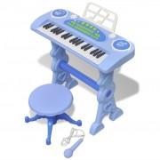 vidaXL Детско пиано с 37 клавиша, стол и микрофон, син цвят