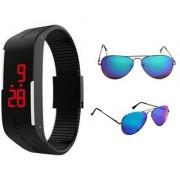 Bm fashion black led band watch and blue mercury sunglases combo