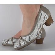 Pantofi albi cu gri perforati (cod 028448)