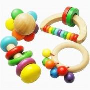 2016 Nouveau Jouet En Bois Bell Rattle Toy Handbell Musical Instrument Éducatif Toddlers Rattles Handle Developmental Toy