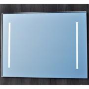 Badkamerspiegel Qmirrors Sanicare 70x80x3.5cm Aluminium 2 Verticale Geintegreerde LED Verlichting Sensor Lichtschakelaar Warm Wit