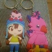 SilphCo Digimon Sora Biyomon Bundle Keychains Anime 2X Keyring Keychain Double Sided Pvc Premium