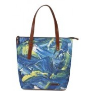 Kantha Kantha Handcrafted Leather and Canvas Modern Art Printed Women Tote Handbag with Adjustable Handle Multicolor Tote