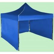 Gyorsan összecsukható sátor 3x3 m – acél, Kék, 3 oldalfal