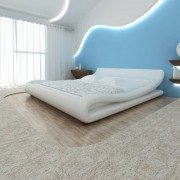 vidaXL Cadru de pat ondulat, piele artificială, 140 x 200 cm, alb