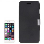 Brush Texture Horizontal Flip Magnetic Button Leather Case for iPhone 6 & 6S(Black)