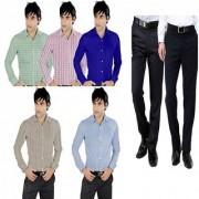 Men's Suiting Shirting Combo 7Pcs 2 Trousers 5 Shirt Fabric