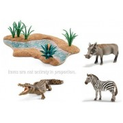 Schleich Realistic Wildlife Water Habitat and Wild Animal Set with River (42255), Warthog (14613), Zebra (14392) and Crocodile (14736)! Durable, Long-Lasting Fun!