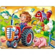 Puzzle Larsen Copil la Ferma pe Tractor, 15 Piese