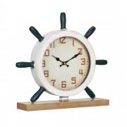 [en.casa]® Stolní hodiny ve tvaru kormidla - analogové - 34 x 8 x 32 cm - barevné - sklo