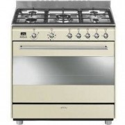 Smeg 90cm Concert Cooker with 5 Burner Gas Hob and Multifunction Thermoventilated Oven Energy rating: A - Vintage cream