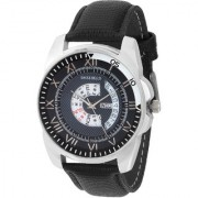 Svviss Bells Original Blue Dial Black Leather Strap Day and Date Multifunction Chronograph Wrist Watch for Men - SB-983