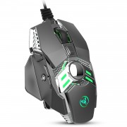 HXSJ J200 Wired 7-button 6400 DPI Adjustable LED Variable Light USB Computer Mouse Gamer Mice - Grey