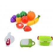 Amitasha Fruit Cutting Toys for Kids   Realistic Sliceable Fruits Cutting Play Set (Multi Color 11 Pcs)