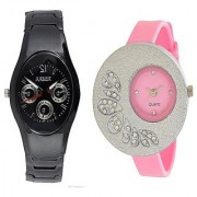 Rosra Black Men and One Side Dial Diamond Women Watches Couple For Men and Women