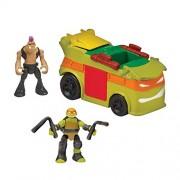 "Teenage Mutant Ninja Turtles Micro Mutant Party Van with 1.15"" Scale Super Ninja Michelangelo & Bebop Figures Vehicle"