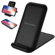 Q800 3 Coils Foldable Qi Wireless Fast Charger Stand 10W/7.5W/5W for iPhone Samsung etc. (Not Support FOD Function) - Black