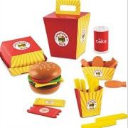 Pepperonz 26 pcs Fast Food Hamburger Wooden kitchen Pretend Play Set Kitchen Toys