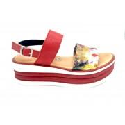 ESTRO Made in Italy Sandalo Con Zeppa Rigata E Fascia In Tessuto A Fiori - Rosso - - M-E04-19